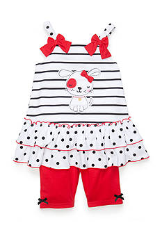 Nannette 2-Piece Puppy Dot Tank Top and Shorts Set Toddler Girls