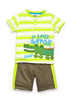 Nannette 2-Piece Stripe Later-Gator Tee and Short Set