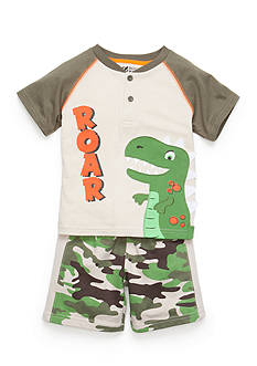 Nannette 2-Piece Dinosaur Tee and Camo Short Set