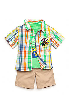 Nannette 3-Piece Plaid Woven Shirt, Graphic Tee and Khaki Short Set Toddler Boys