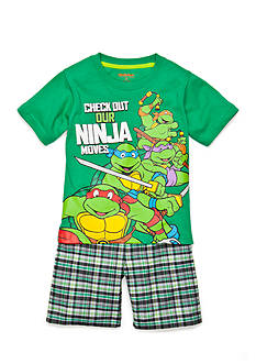 Nickelodeon™ Teenage Mutant Ninja Turtles™ 2-Piece Character Tee and Plaid Short Set Toddler Boys