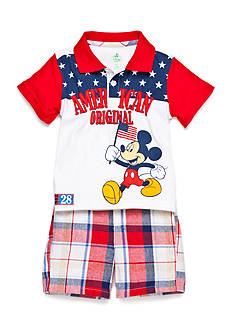 Disney Mickey Plaid 2-Piece Short Set