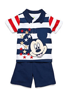 Disney Navy Stripe Mickey 2 Piece Short Set