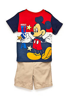 Disney Mickey Mouse USA Short Set Toddler Boys