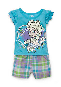 Disney 2-Piece Frozen Top and Plaid Short Set Toddler Girls