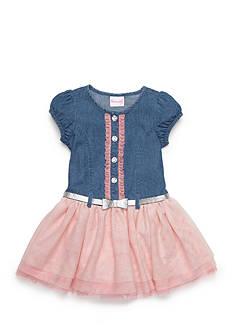 Nannette Denim Drop Waist Dress with Tulle Skirt Toddler Girls