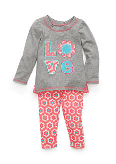 Nannette 2-Piece Love Flower Top and Flower Pattern Leggings Set