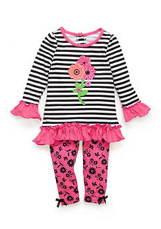 Nannette 2-Piece Striped Flower Top and Pink Flower Pattern Leggings Baby/Infant Girl