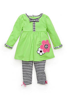 Nannette 2-Piece Houndstooth Baby Doll Top and Houndstooth Leggings Set