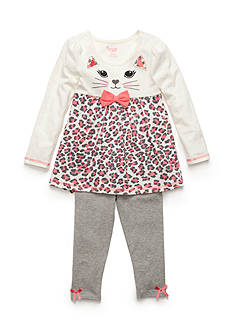 Nannette 2-Piece Kitty Face Tunic and Legging Set Toddler Girls