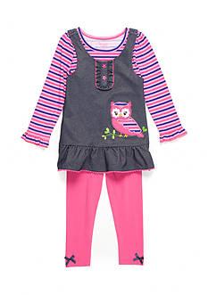 Nannette Owl Chambray Dress and Legging 2-Piece Set Girls Toddler Girls