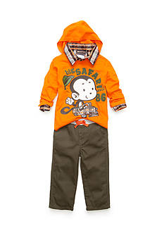 Nannette 3-Piece Plaid Top, Monkey Print Hoodie, and Jeans Set Baby/Infant Boy