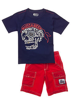 Nannette Glow in the Dark Pirate 2-piece Short Set Toddler Boys