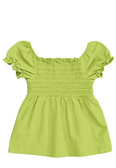 J Khaki Smocked Babydoll Top Toddler Girls