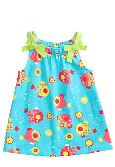 J Khaki Fish Print Babydoll Top Toddler Girls