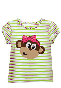 J Khaki Stripe Monkey Tee Toddler Girls