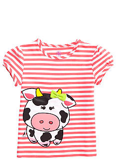 J Khaki Knit Stripe Cow Printed Tee Toddler Girls