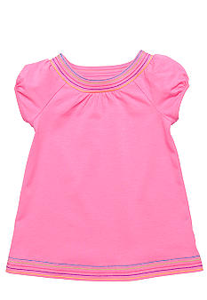 J Khaki Embroidered Babydoll Top Toddler Girls