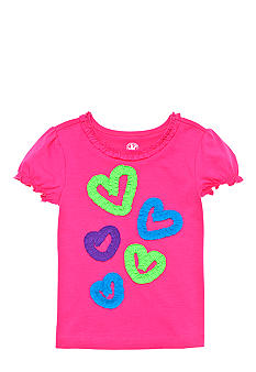 J Khaki Knit Ruffle Heart Tee Toddler Girls
