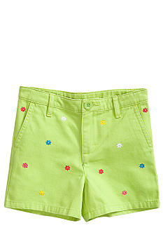 J Khaki Flower Embroidered Short Toddler Girls