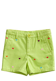 J Khaki Heart Embroidered Short Toddler Girls