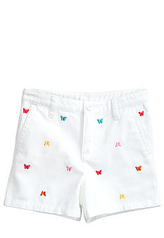 J Khaki Butterfly Embroidered Short Toddler Girls