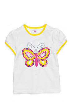 J Khaki™ Short Sleeve Ruffle Butterfly Tee Toddler Girls