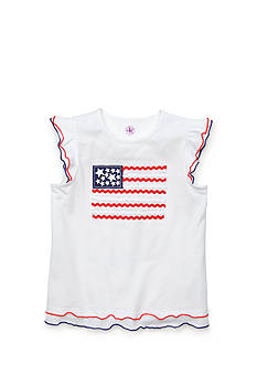 J Khaki™ Ruffle Sleeve Flag Top Toddler Girls