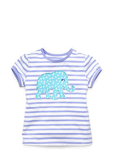 J Khaki™ Short Sleeve Elephant Striped Top Toddler Girls