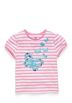 J Khaki™ Short Sleeve Butterfly Stripe Top Toddler Girls