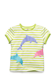 J Khaki™ Short Sleeve Dolphin Striped Top Toddler Girls