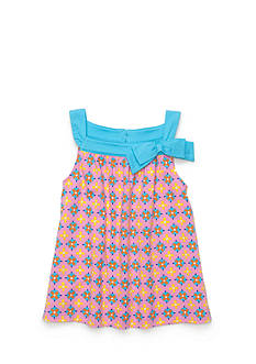 J Khaki™ Geo Print Bow Babydoll Top Toddler Girls