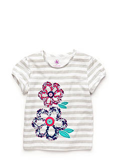 J Khaki™ Ruffle Flower Stripe Top Toddler Girls