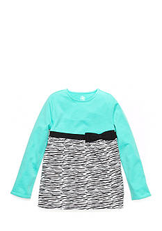 J Khaki™ Long Sleeve Zebra Print Babydoll Top Toddler Girls
