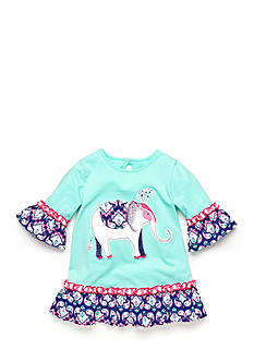 J Khaki™ Paisley Elephant Ruffle Top Toddler Girls