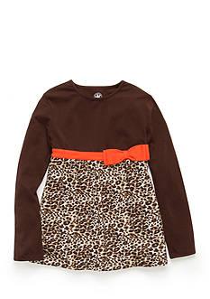 J. Khaki Long Sleeve Animal Print Babydoll Top Toddler Girls