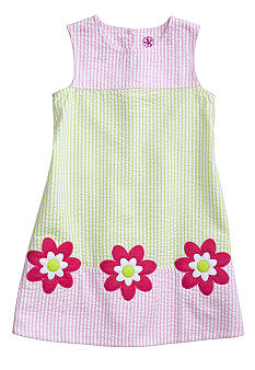 J Khaki Seersucker Floral Dress Toddler Girls