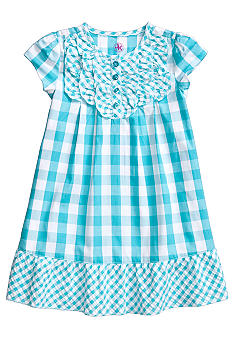 J Khaki Gingham Dress Toddler Girls