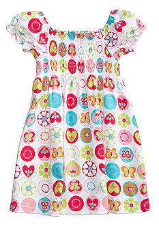 J Khaki Butterfly Print Smock Dress Toddler Girls