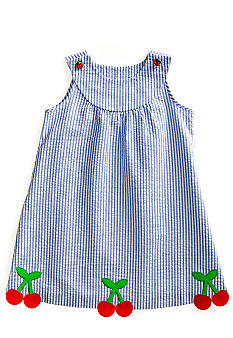 J Khaki Seersucker W/ Cherry Dress Toddler Girls