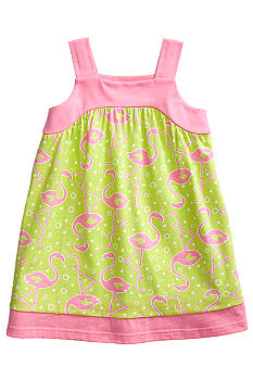 J Khaki Flamingo Print Dress Toddler Girls