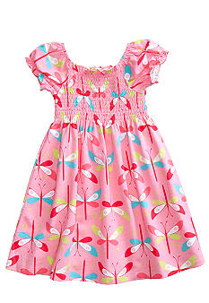 J Khaki Smocked dragonfly printed dress Toddler girls