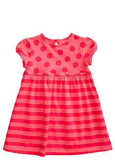 J Khaki Dot & Stripe Printed Dress Toddler Girls