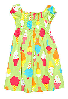J Khaki Smocked Ice cream Printed Dress Toddler Girls