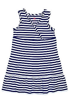 J Khaki Blue and White Striped Dress Toddler Girls