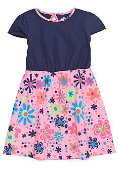 J Khaki Floral Print Dress Toddler Girls