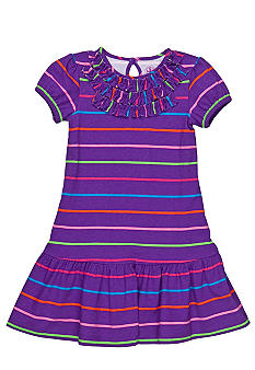 J Khaki Striped Dress Toddler Girls