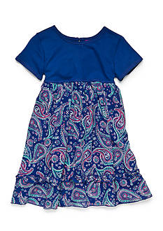 J Khaki™ Solid To Paisley Print Dress Toddler Girls