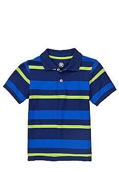 J Khaki Striped Polo Toddler Boys
