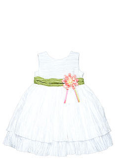 Heartworks by Blueberi Boulevard Crinkle Dress With Green Sash